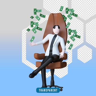 3d-weergave van een personage zittend op een stoel met geld
