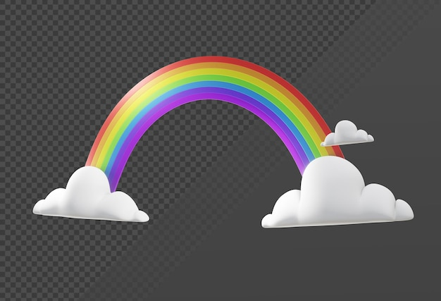 3d-weergave van eenvoudig regenboogpictogram met wolken vanuit perspectiefweergave
