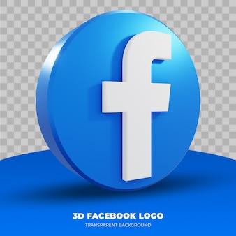 3d-weergave van facebook-logo geïsoleerd