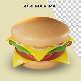 3d-weergave van fastfood hamburger