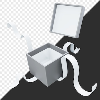 3d-weergave van geopende lege geschenkdoos geïsoleerd