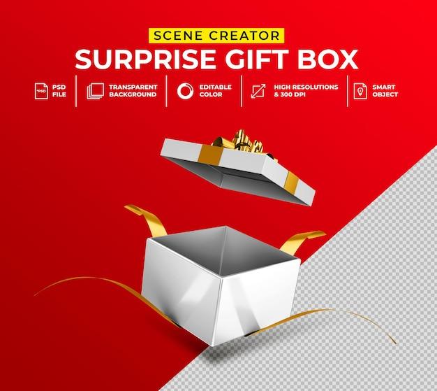 3d-weergave van geopende verrassingsgeschenkdoos voor mockup van de maker van de scène