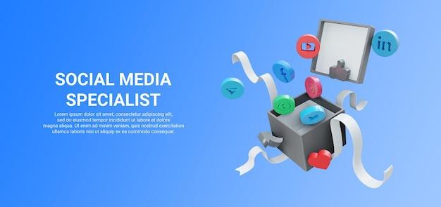 3d-weergave van geschenkdoos met social media-pictogram