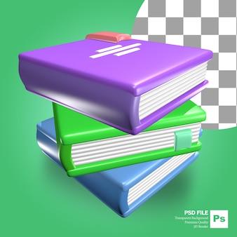 3d-weergave van gestapelde boekenobjecten