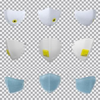 3d-weergave van gezichtsmasker collectie
