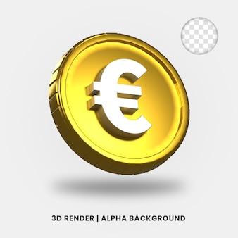 3d-weergave van gouden euromunt met glanzend effect geïsoleerd. nuttig voor zakelijke of e-commerce projectillustratie.