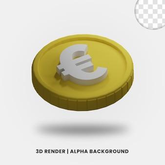 3d-weergave van gouden euromunt met mat effect geïsoleerd. nuttig voor zakelijke of e-commerce projectillustratie.
