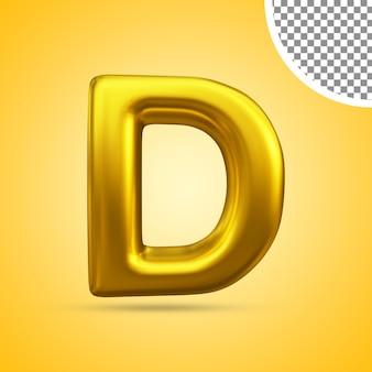 3d-weergave van gouden teksteffect hoofdletter d