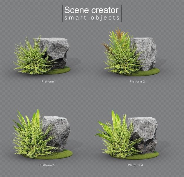 3d-weergave van granieten stenen platform op grasset