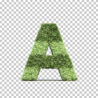 3d-weergave van gras speelveld alfabet a