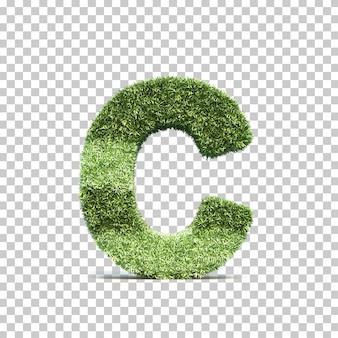 3d-weergave van gras speelveld alfabet c