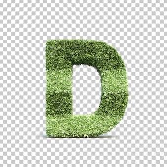 3d-weergave van gras speelveld alfabet d