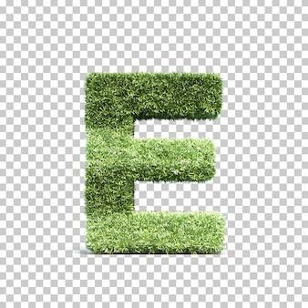 3d-weergave van gras speelveld alfabet e