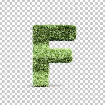 3d-weergave van gras speelveld alfabet f