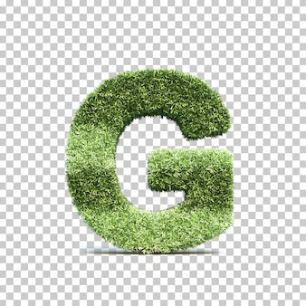 3d-weergave van gras speelveld alfabet g