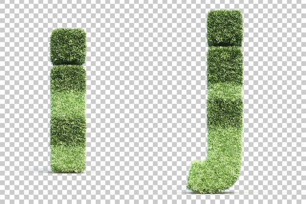 3d-weergave van gras speelveld alfabet i en alfabet j