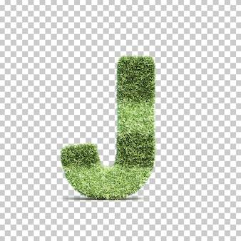 3d-weergave van gras speelveld alfabet j