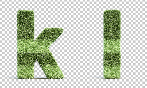 3d-weergave van gras speelveld alfabet k en alfabet l