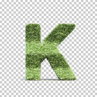 3d-weergave van gras speelveld alfabet k