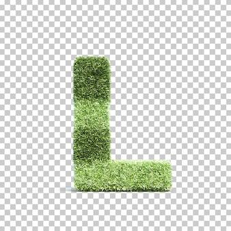 3d-weergave van gras speelveld alfabet l