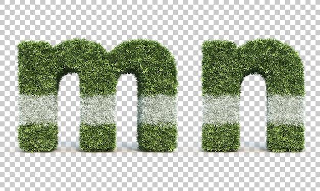 3d-weergave van gras speelveld alfabet m en alfabet n