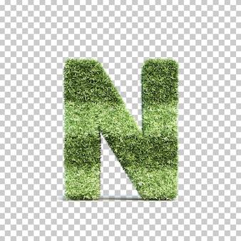 3d-weergave van gras speelveld alfabet n