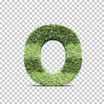 3d-weergave van gras speelveld alfabet o