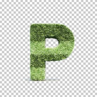 3d-weergave van gras speelveld alfabet p