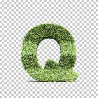 3d-weergave van gras speelveld alfabet q