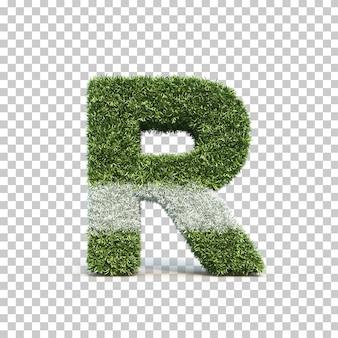 3d-weergave van gras speelveld alfabet r