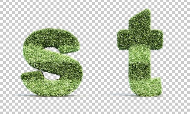 3d-weergave van gras speelveld alfabet s en alfabet t