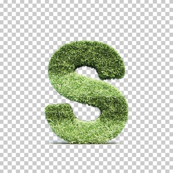 3d-weergave van gras speelveld alfabet s