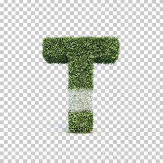 3d-weergave van gras speelveld alfabet t