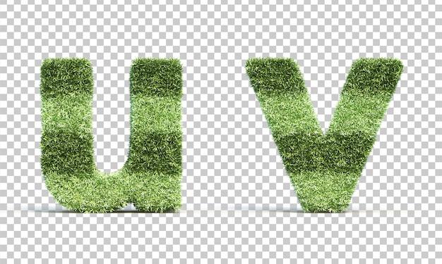 3d-weergave van gras speelveld alfabet u en alfabet v