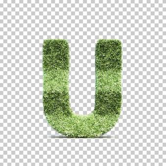 3d-weergave van gras speelveld alfabet u