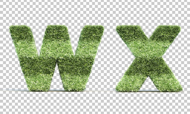 3d-weergave van gras speelveld alfabet w en alfabet x