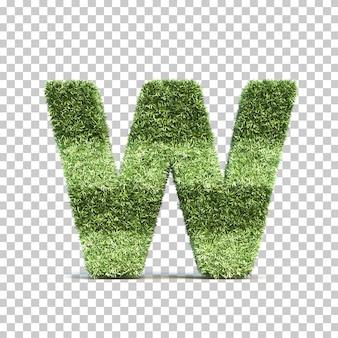 3d-weergave van gras speelveld alfabet w