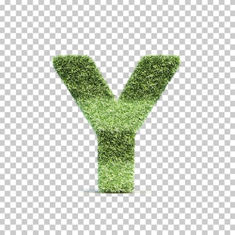 3d-weergave van gras speelveld alfabet y