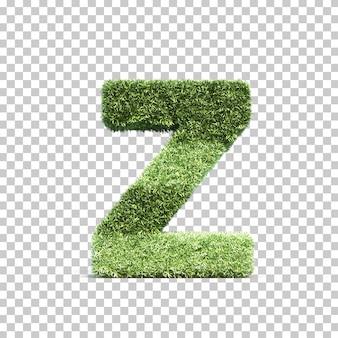 3d-weergave van gras speelveld alfabet z