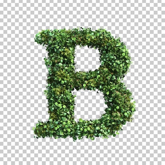 3d-weergave van groene planten alfabet b