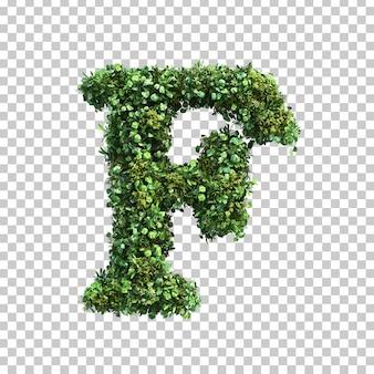 3d-weergave van groene planten alfabet f