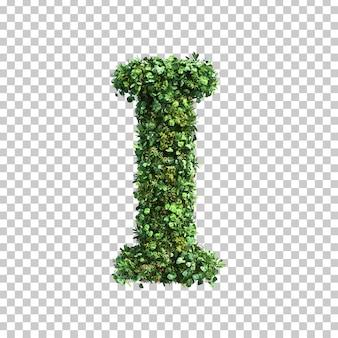 3d-weergave van groene planten alfabet i