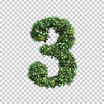 3d-weergave van groene planten nummer 3