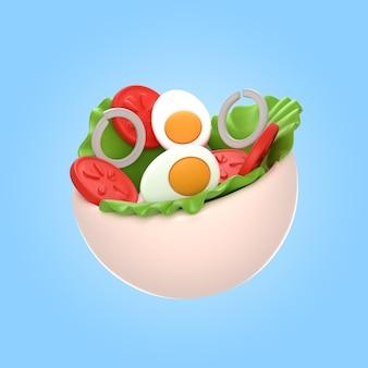 3d-weergave van heerlijke salade