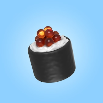3d-weergave van heerlijke sushi roll