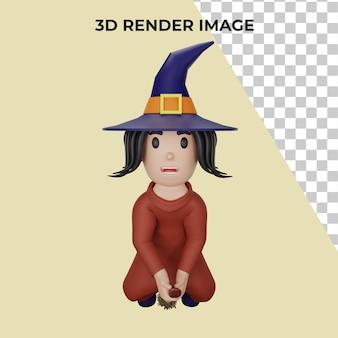 3d-weergave van heks met halloween-concept