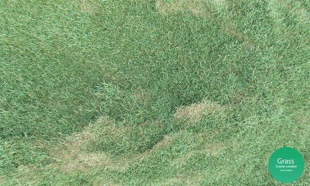 3d-weergave van het bovenaanzicht van het grasveld