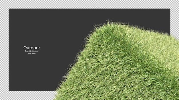 3d-weergave van het grasveldarrangement op ronde kubusvorm