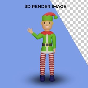 3d-weergave van het karakter van de elfen van de kerstman met kerst- en nieuwjaarsconcept