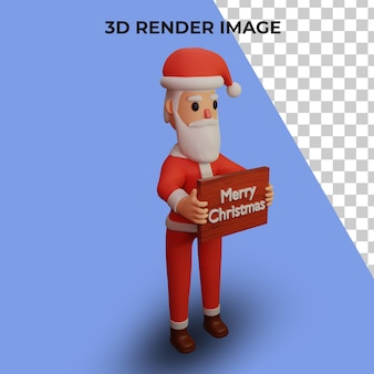 3d-weergave van het karakter van de kerstman met kerst- en nieuwjaarsconcept